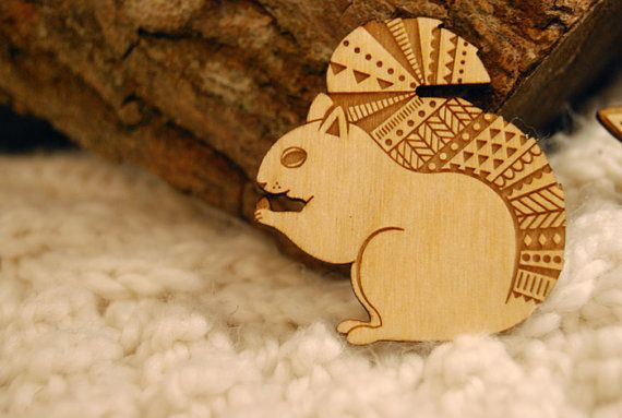 Wooden Squirrel Brooch by laylaamber on Etsy, £8.00