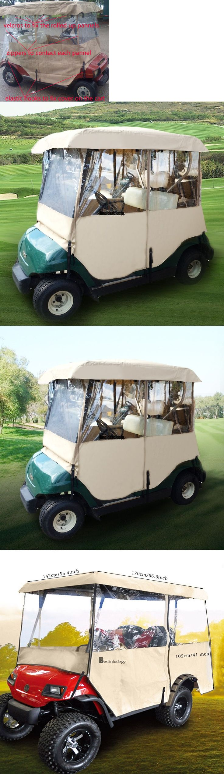 Push-Pull Golf Carts 75207: Golf Cart Rain Cover Enclosure For Club Car 2Person Yamaha Precedent Golf Course -> BUY IT NOW ONLY: $52.04 on eBay!