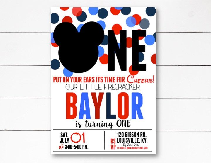 First Birthday Mickey Invite, Patriotic Mickey Invitation 4th of July Invitation, Little Firecracker Invitation, DIY or Printed Invitation by NOLALOULOU on Etsy https://www.etsy.com/listing/531753525/first-birthday-mickey-invite-patriotic
