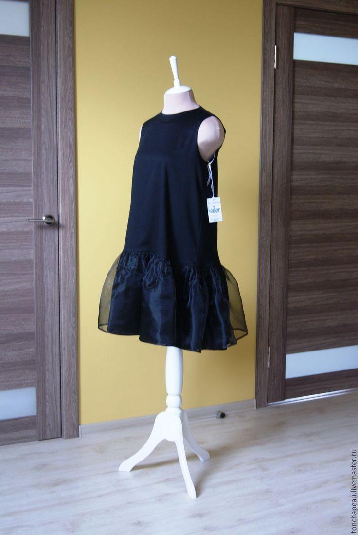 Купить Платье из сатина и органзы - черный, платье с воланом, платье из сатина, платье женское