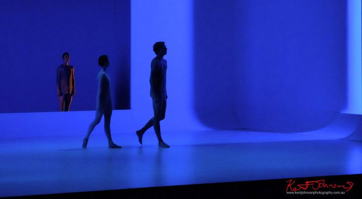 Deep blue, moody stage - The Australian Ballet - CHROMA - Chorographer Wayne McGregor Photography by Kent Johnson.