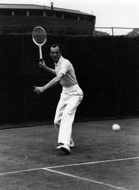 English tennis star Fred Perry (1909 - 1995), the first person ever to win all four major singles titles gives an exhibition in correct play, here demonstrating the forehand drive. The fact that Britain has been waiting for 75 years for a Grand Slam winner underscores the greatness of Fred Perry's feat. The Briton won the last of his eight Grand Slam singles titles in 1936, and since then, for all the gallant efforts of Mike Sangster, Roger Taylor,