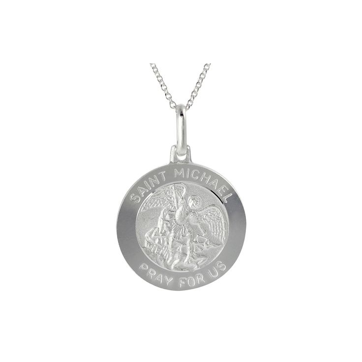 Women's Italian Holy St. Michael 'Pray for Us' Disc Pendant Necklace in Sterling Silver - Silver