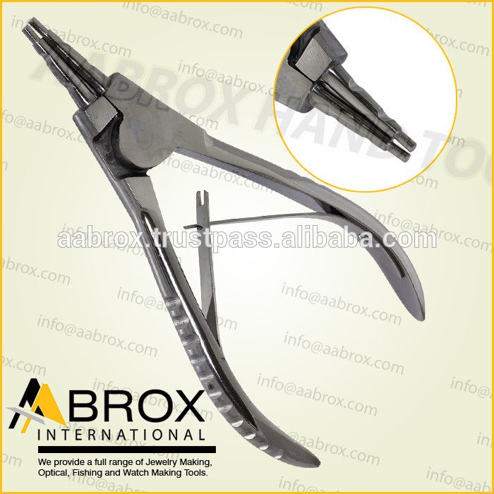 Model Number: AI-PP-112  Stainless Steel Ring opening pliers with 2 grooves Rings up to 5 mm can be opened with this pliers. This Pliers is best for Bead Workers, Wire Wrap Artists, Traditional Jewellery Making, Beading and other fine Hobby Work.