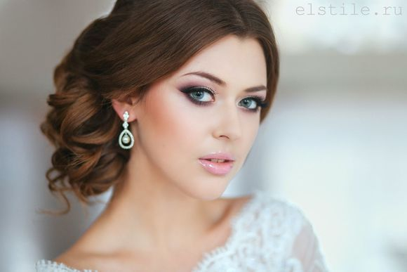 Wedding Hairstyles - Updo & pink makeup