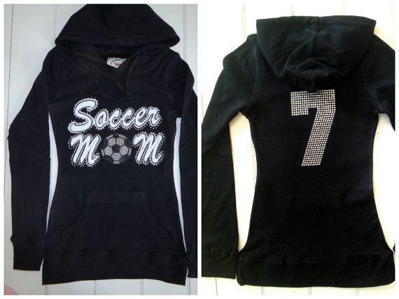 Soccer Mom Hoodie with Custom Rhinestone Number
