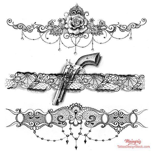 3 x Lace Garter – Download Tattoo Design # 5 – Floral Tattoos – #Flowers #Design # …   – Verschiedene Tattoo-Ideen