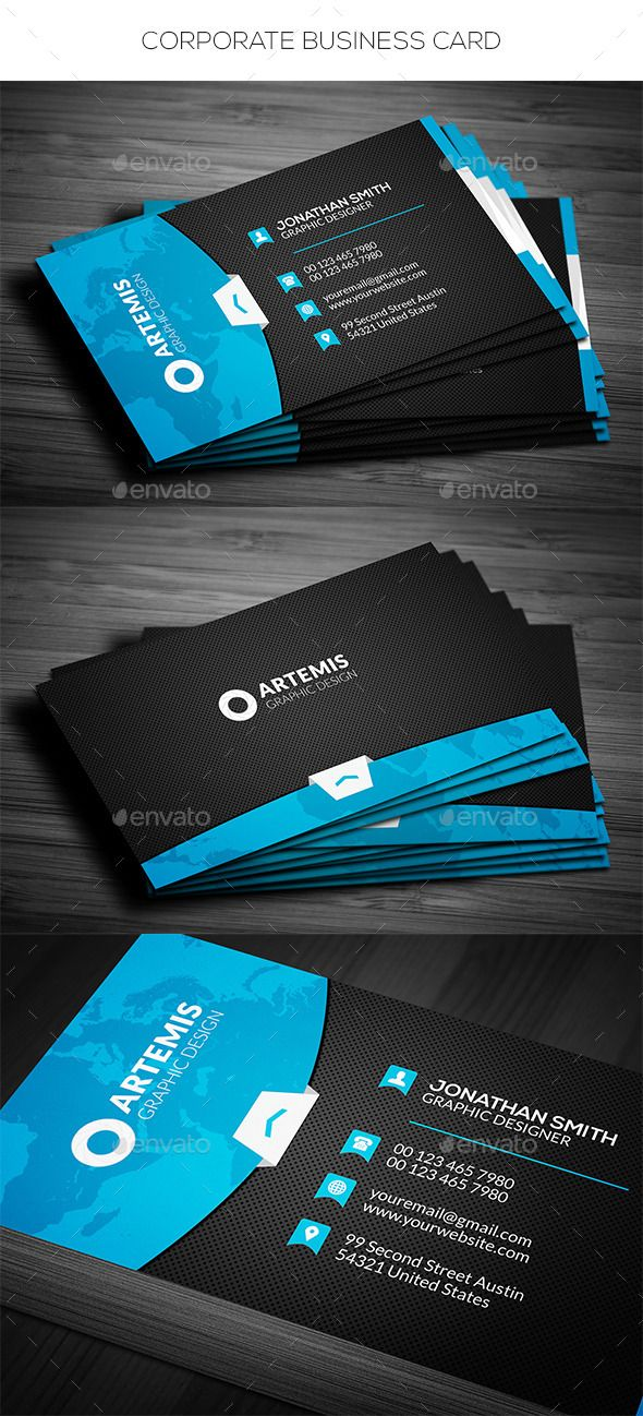 Corporate Business Card Template #design #print Download: http://graphicriver.net/item/corporate-business-card/11992729?ref=ksioks