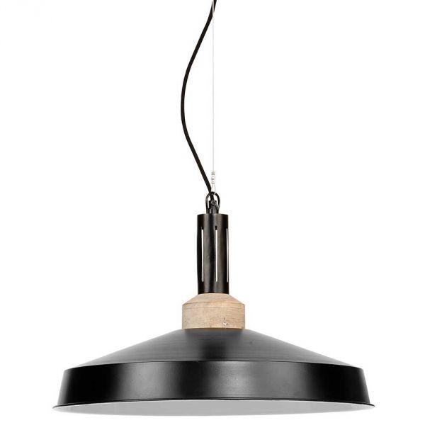 Great Suspension industrielle bois et metal noir