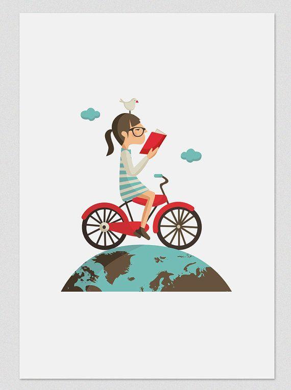Illustrazione. Leggere in bicicletta. Stampa. di Tutticonfetti