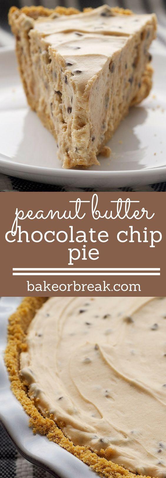 Peanut Butter-Chocolate Chip Pie is a cool, creamy dessert featuring everyone's favorite flavor combination. - Bake or Break ~ http://www.bakeorbreak.com
