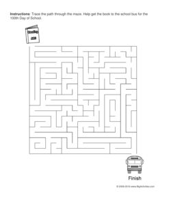 100th Day of School maze worksheet with a book and a school bus. 4 levels of difficulty. Maze changes each time you visit