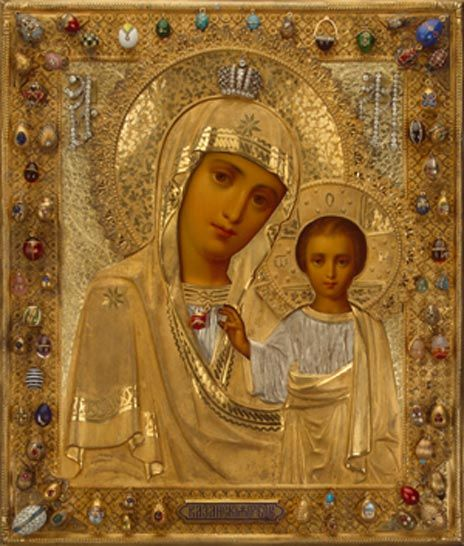 Icon with our Lady of Kazan Moscow, late 19th century; pendants: St Petersburg, firm of Carl Fabergé, 1890–1900, Wood, tempera, silver, gold, brilliants, rose-cut diamonds, sapphires, emeralds, rubies, pearls, enamels, 31.5 x 27 cm,  Hermitage Museum, St Petersburg