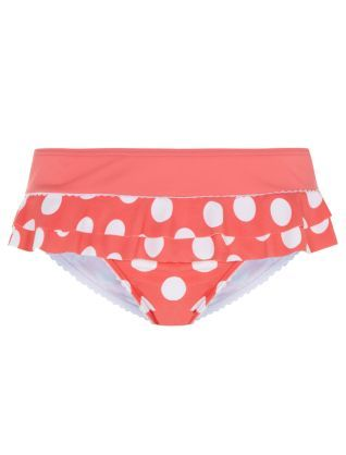 Pink Pattern (Pink) Kelly Brook Pink Polka Dot Frill Trim Bikini Bottoms | 305592479 | New Look