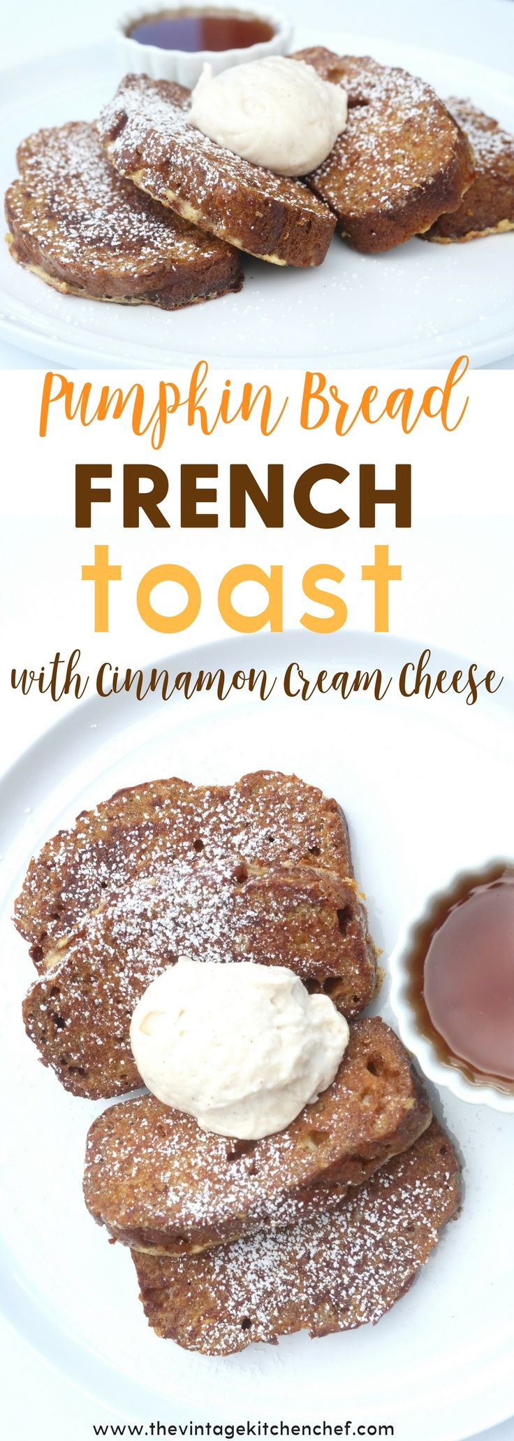 Pumpkin Bread French Toast is utterly delicious, delectable and delightful! Top if off with cinnamon cream cheese to achieve french toast perfection!