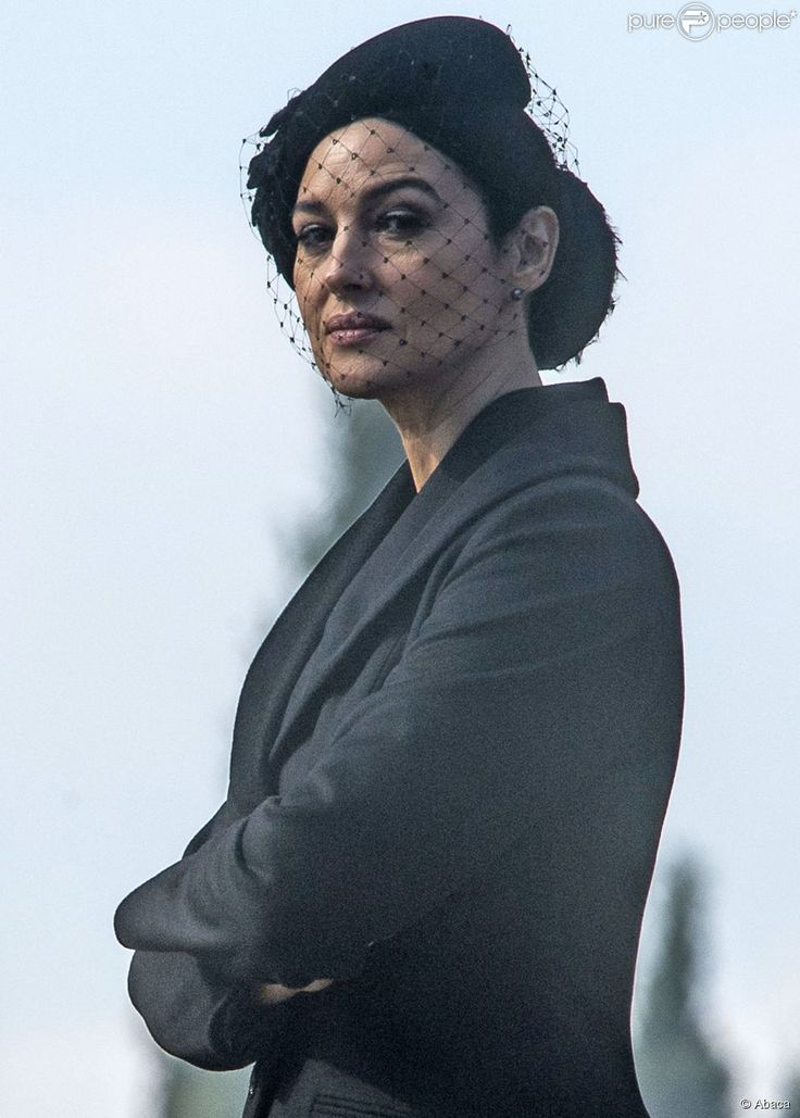 Monica Bellucci sur le tournage du prochain James Bond, Spectre, à Rome, le 19 février 2015.