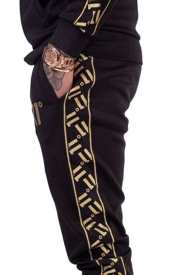 Sport Luxe Poly Track Pants Black Gold Sports Luxe Black Pants Skinny Fit