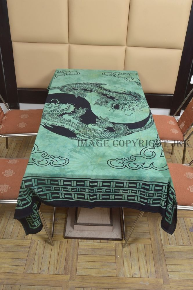Indian Teal Blue Color Dragon Printed Dinning Table Cover Cloth Cotton IWUS