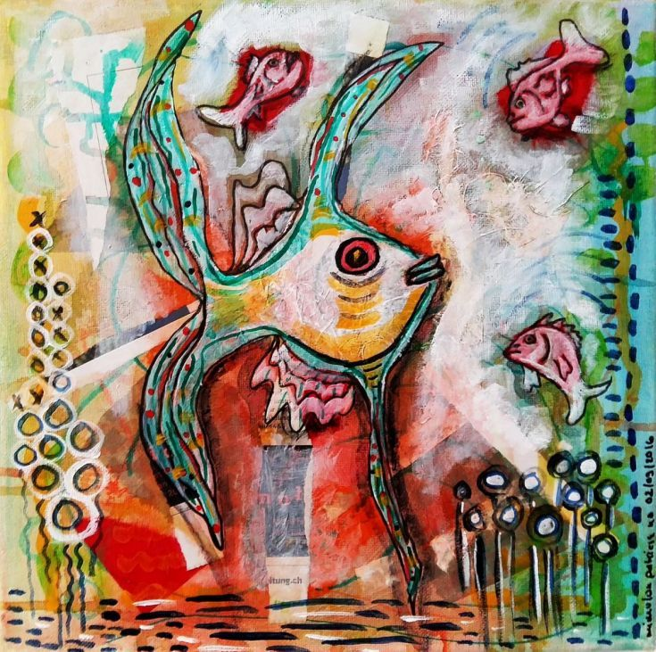 Buy Fishy Stuff, Mixed Media painting by mimulux patricia no on Artfinder…