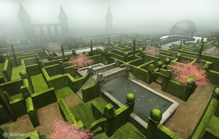 Garden maze illustration