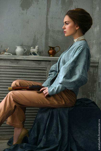 """Жакет и брюки с авторской коллекции """"Обаяние холода"""" - мятный,цветочный"""
