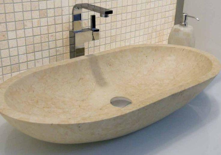 ... Beige Marble Oval Stone countertop vanity Basin 70 cm x 35 cm x 13 cm