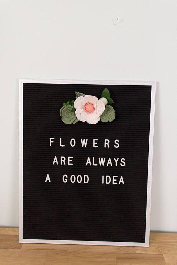 letterboard flowers letterboard decor floral garland wool letter