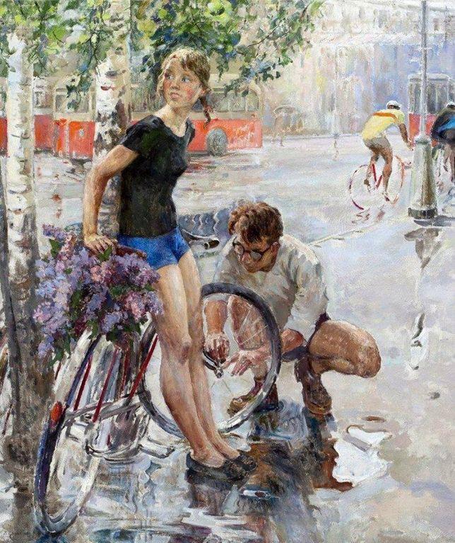 Цветков Виктор Александрович «Велосипедная прогулка». 1965 г.