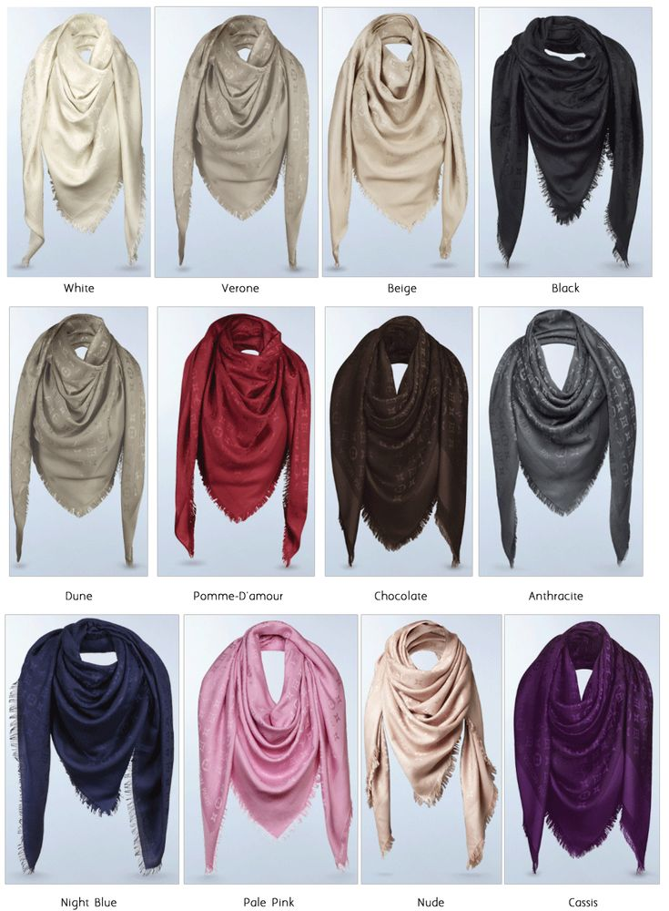 The Louis Vuitton Monogram shawl comes standard in about twelve colors.