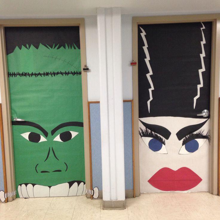 Halloween Classroom Door Decor ~ Monster mash frankenstein bride of door