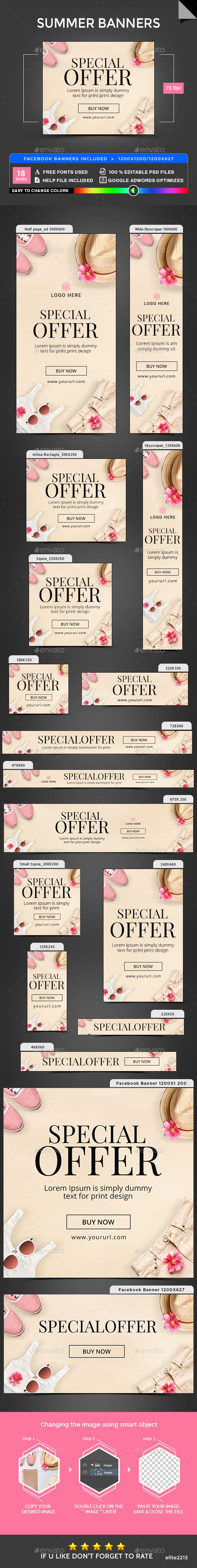 Summer Banners — Photoshop PSD #social media #marketing • Available here → https://graphicriver.net/item/summer-banners/19822999?ref=pxcr