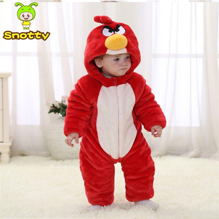 Животных Детские костюмы для Косплея Красный Руно Зима Ребенка Комбинезон 4-24 Ребенок Зимняя Одежда KJ-16019