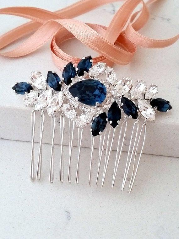 bijoux de cheveux argent bleu marine