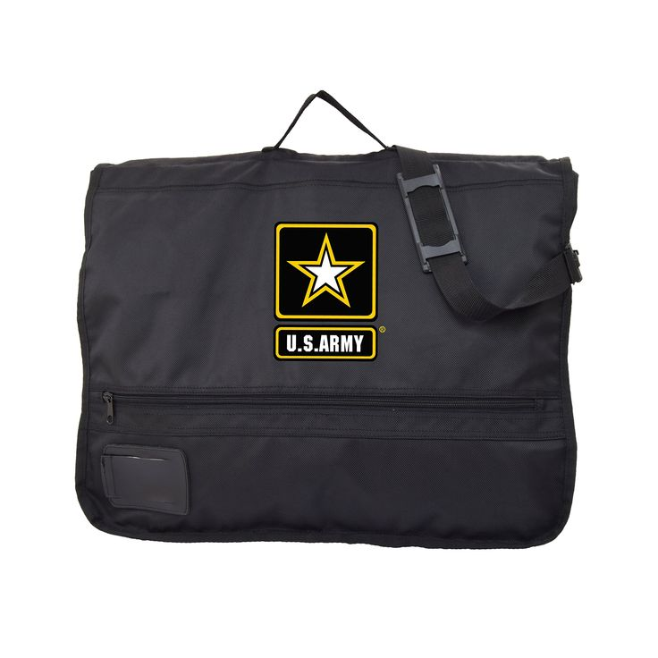 "US ARMY Hanging Garment Bag. 23"" w x 4"" D x 19"" H (folded)....38"" H (unfolded). Water resistant polyester fabric. Interior hanger hooks & adjustable strap to secure your clothing. Folds in half for easy transport and carry on. Easily accommodates up to four suits."