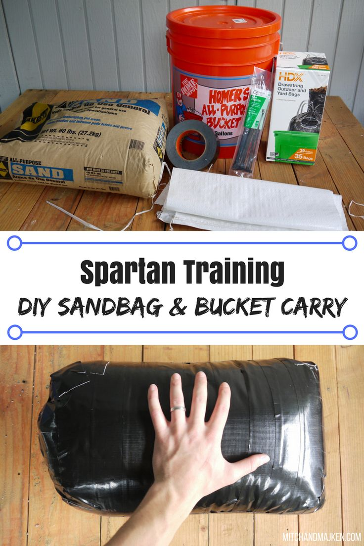 Simple & cheap DIY Sandbag and bucket carry for Spartan Race training! Or for any workout!