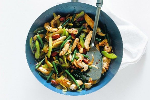 Stir-fry is the quickest way to get a nutritious meal on the table in minutes. This one is a colourful combination of chicken, celery, green beans and nuts.