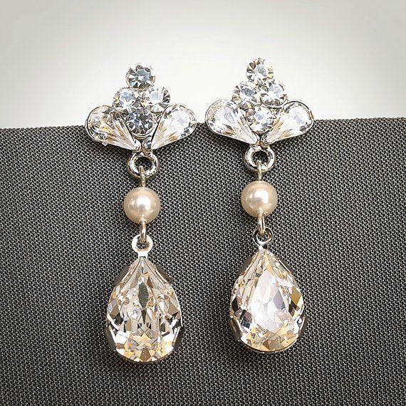 CECILIA Swarovski Bridal Earrings Vintage by GlamorousBijoux, $56.00