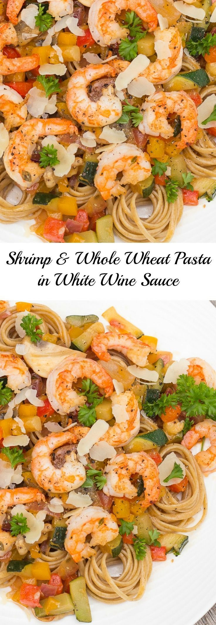 Shrimp with Whole Wheat Pasta in a White Wine Sauce