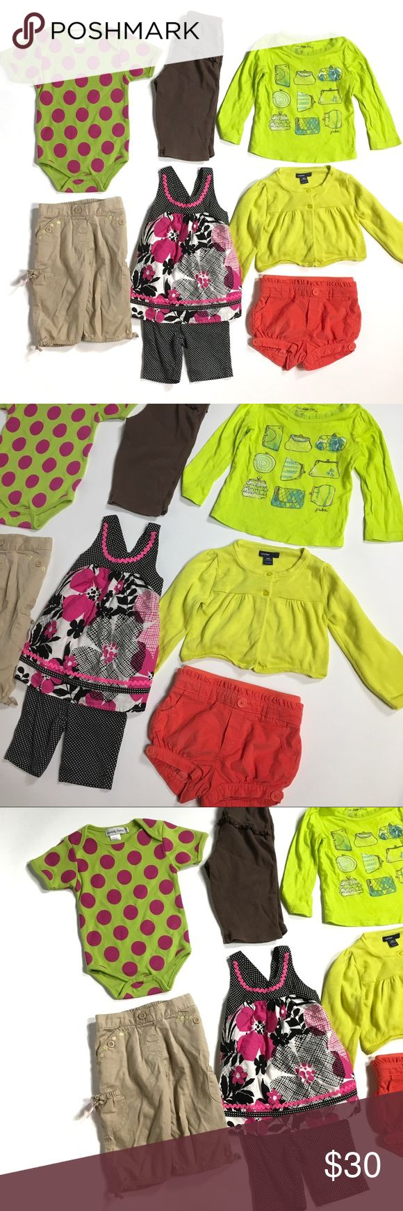 Baby Girl's BUNDLE 12-124M Gymboree, Baby Gap You're receiving 8 items:   1. NWT Baby Gap coral shorts (18/24M) 2. Baby Gap Lime Green Cardigan Sweater (12/18m) 3. Baby Gap Purses Tee Shirt (12/18m) 4. Carter's brown pull on pants (12m) 5. Jenny & Me Matching Set (12m) 6. Gymboree Khaki Capri pants (12/18m) 7. Infinitely Sweet Polka Dot Onesie (12/18m) GAP Matching Sets