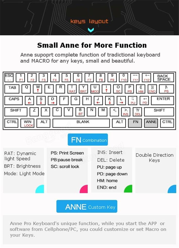 [APP Control] Anne PRO Blue/Red/Brown Switch RGB Wireless Bluetooth Mechanical Gaming Keyboard