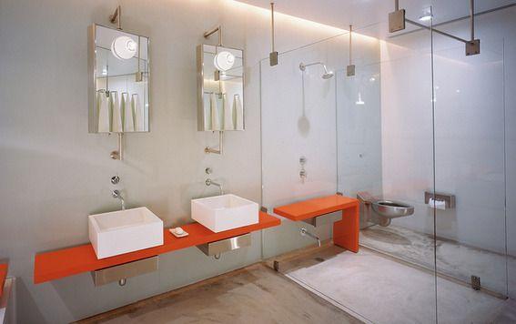 orange accent modern bathroom