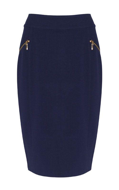 Liz Jordan Ponti Zip Skirt $89.95  Ponti pencil skirt, 2 front zip pockets, back zip and hook and eye for fastening, 67cm in length 67% Viscose 32% Nylon 1% Spandex  Item Code: 045324