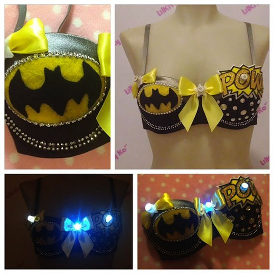 Batman Custom Bra with LED Lights