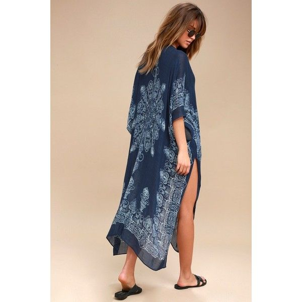 Exotic Sol Mint and Navy Blue Print Kimono  Lulus ($49) ❤ liked on Polyvore featuring tops, blue, mint blouse, mint green blouse, kimono sleeve top, navy blue blouse and rayon blouse