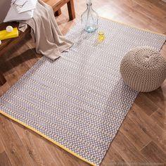 Tapis 100% coton tissé main motifs relief losanges gris et jaune Inayat Haveli Republic port offert