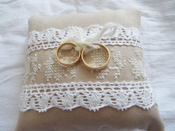 Cross stitch wedding pillow