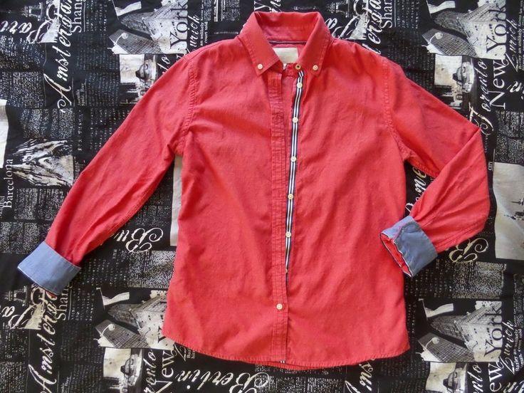Banana Republic Womens Oxford Shirt Red Blue Contrast 100% Cotton size S #BananaRepublic #ButtonDownShirt