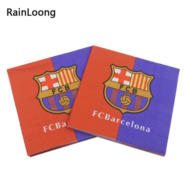 [Visit to Buy] [RainLoong] Spain Football Team Paper Napkins Event & Party Tissue Napkins Decoration Serviettes 33cm*33cm 20pcs/pack/lot #Advertisement