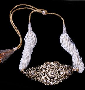 """Old Gold """"Bazuband"""" Inlaid with Diamonds and White Enamel on the Back with a Chain of Multiple Miniature Basra Pearls"""