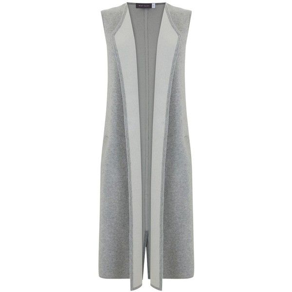 Mint Velvet Longline Waistcoat, Grey ($140) ❤ liked on Polyvore featuring outerwear, vests, mint velvet, gray vest, formal vest, long sleeveless vest and waistcoat vest